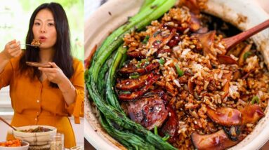 Vegan Chinese Clay Pot Rice Recipe with a Bombdigity Sauce that You Can't Have It Enough!