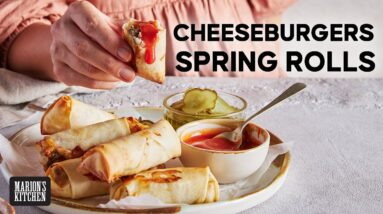 A cheeseburger... in a spring roll... in an air fryer? You'd better believe it. #recipe