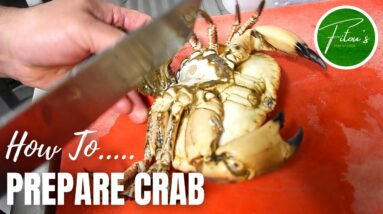 HOW To Prepare a LIVE CRAB For Cooking🦀    Fitous Thai Kitchen